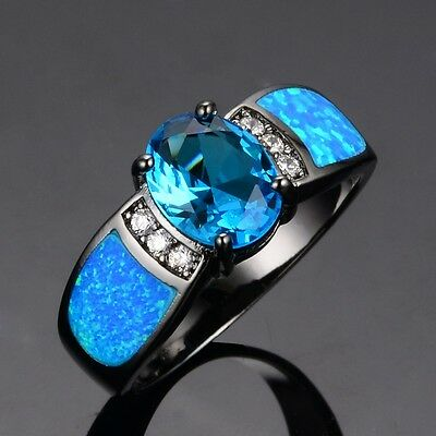 ~ Victorian-Style Size 6 to 9 ~ Blue Sapphire & Opal Engagement / Wedding Ring ~