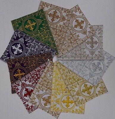 """Vestment French Cross Design 6"""" Embroidered Banding Assorted Sold by Yard"""