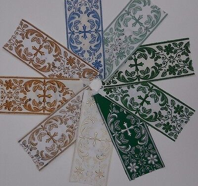 """Orphrey Cross Design 3"""" Embroidered Banding USA Made Assorted Mat Colors 1 Yard"""