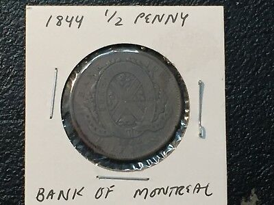 1844 Bank of Montreal Canada  half penny - NO RESERVE!