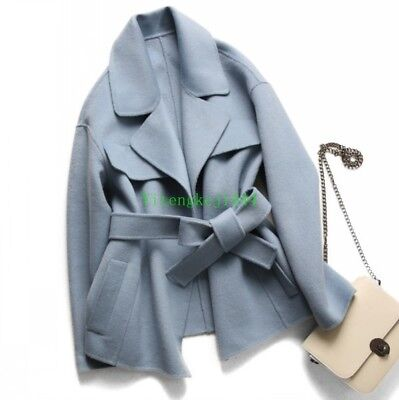 Handmade vintage 100% double-faced cashmere coat Jacket womens Trench coat New Y