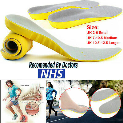 Orthotic Shoe Insoles Arch Support Plantar Fasciitis Flat Feet Back & Heel Pain