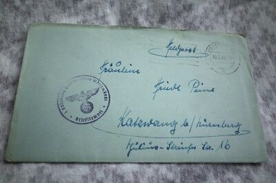German Kriegsmarine Feldpost Used Cover / Envelope With Letter Ww2 18.5.1943