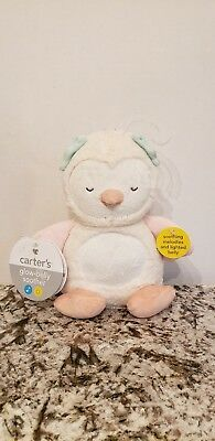 """Carter's Glow Belly Owl Plush 9"""" Musical Soother Nightlight Crib Toy NWT."""