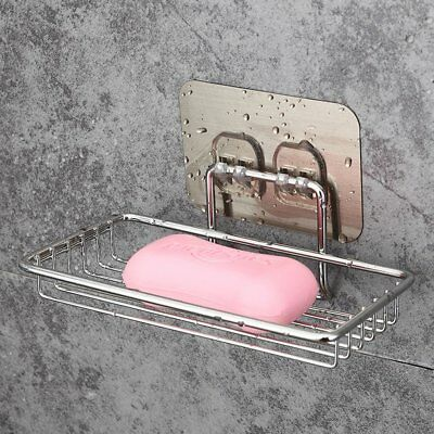 Stainless Steel Strong Suction Cup Bathroom Soap Holder Dish Tray Accessories G2
