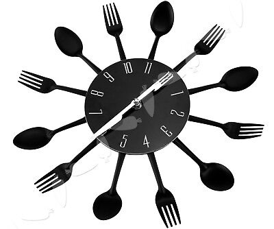 Black Home Decoration Cutlery Kitchen Utensil Spoon Fork Clock Wall Clock
