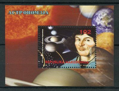 Macedonia 2018 MNH Nicolaus Copernicus 1v M/S Astronomy Planets Space Stamps