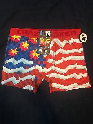"1c48e5d69c4 Crazy Boxers Mens Boxer Briefs ""Back To 90 s "" Silky Feel Underwear Sz L NWT"