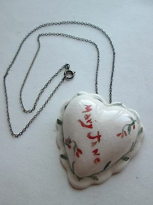 """1939 Handmade and Painted Ceramic Heart necklace pendant on fine chain, 9"""" drop"""