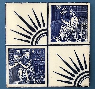 Original Antique Josiah Wedgwood 'Ye Law' & 'Medicine' Blue and White print Tile