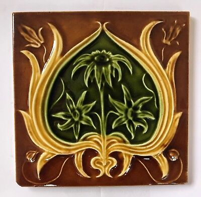 Stunning Original Antique Art Nouveau Majolica  Tile C1906