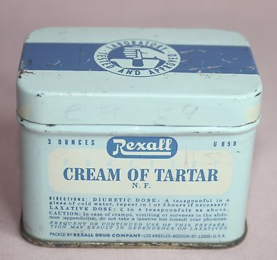 Antique /Vintage  Rexall  Cream Of Tartar  Tin/Can Drug Co. Los Angeles, Boston.