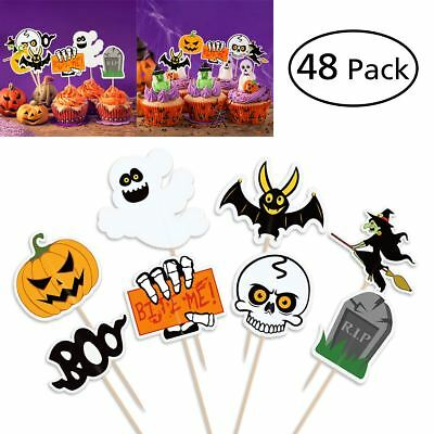 48PCS Cupcake Toppers Ghost Witch Pumpkin Design Picks Muffin Toppers Halloween