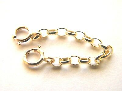 """New 1"""" 9ct Yellow Gold Belcher Safety Chain for Necklace or Bracelet Extender"""