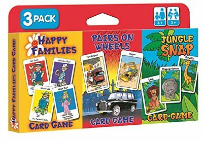 Childrens Card Games - Jungle Snap, Pairs on Wheels  Happy Families 3 Pack