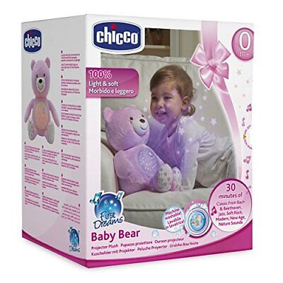 Chicco First Dreams Baby Bear Pink Musical Night Light Plush Teddy Toy