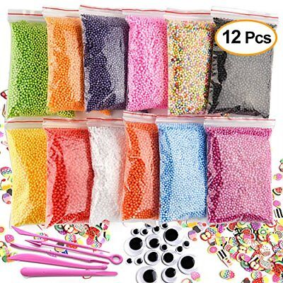 Kuuqa 12 Packs Slime Foam Balls Set Craft Foam Beads Micro Polystyrene Styrofoam