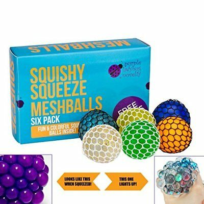Purple Ladybug Novelty Squishy Mesh Ball Variety Pack from 6 Stress Relief Squis
