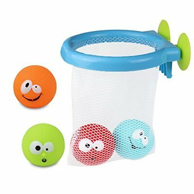 K.C Bath Toys Set Bath Time Basketball and 4 Squirting Balls Bath Dunkers for Ba