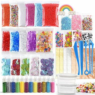 FEPITO 49 Packs Slime Supplies Kit Including Fishbowl Beads, Wobbly Eyes, Shell,