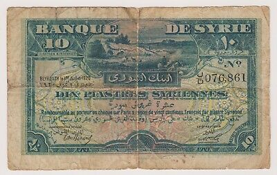 Syria Syrie Syrian Banknote 10 Piastres 1920 P12 VG+ Rare Currency Note Beirut