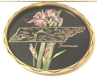 Vintage Tennessee State Mid-Century Black Metal Serving Tray  Kitchen Souvenir