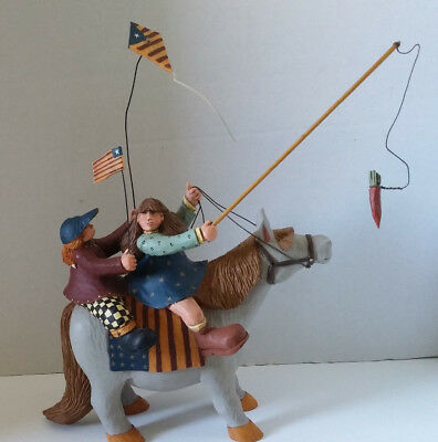 Williraye Studio Folk Art Americana Girls Riding On Horse WW1312