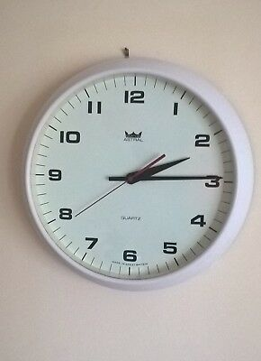 Vintage Smiths Astral White Factory Office Wall Clock - Battery Operated