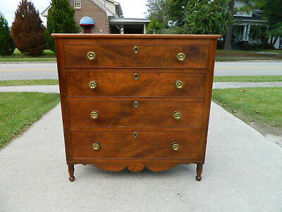 Period Walnut Four Drawer Chest~~circa 1820