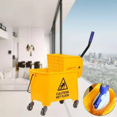 Commercial 20L Wet Mop Bucket & Removable Wringer Combo Yellow Side Press