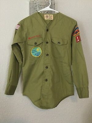 vtg 50s BSA Boy Scouts Twill Uniform Shirt Sanforized Collarless Patches S or XS
