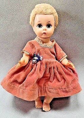 1950s Little Genius Madame Alexander rubber DOLL with orig. pink velvet DRESS