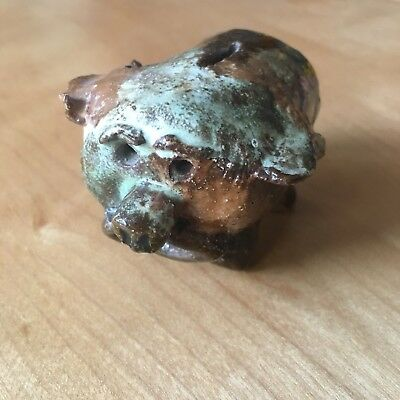 BROWN PIGGY BANK Money Coin VINTAGE FIGURINE Ceramic Pig Mexico