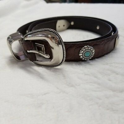 Womans Large Silver &Turquoise Leather Brown Belt