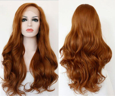 """AU 24"""" Auburn Lace Front Wig Long Wavy Cosplay Handtied Synthetic Fiber Hair"""