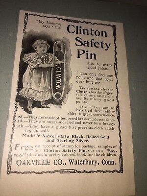 Vintage Clinton Safety Pin Oakville Co.,waterbury,connecticut Ad
