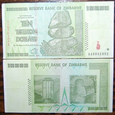 Zimbabwe 10 Trillion. BLOWOUT PRICE! 2008 AA. 100% Genuine. Over 50 in Stock