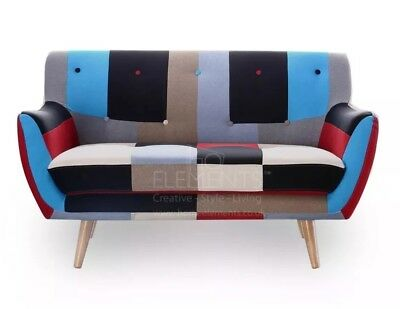 2 Seater Patchwork Sofa New Retro Vintage Mix Colour UK Stock FREE Delivery