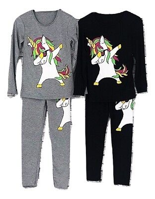 Girls Kids Unicorn Dab Outfit Top And Leggings Dabbing Tracksuit Set Age 2-13