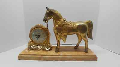 Vintage United Clock Co No. 310 Brass Plated Horse Western Mantle Clock-WORKING!