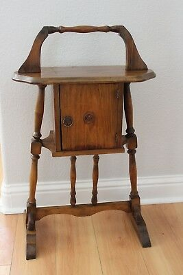 Antique Wood Smoking Stand Humidor Box Tobacco  Cigar Stand Tin Lined Cabinet