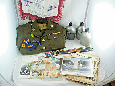 WWII WW2 United States Grouping & Lot; Uniform; Equipment; Paper; Patches; Photo