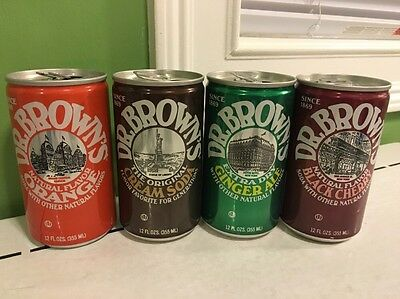 Dr. Brown Can Orange Cream Soda Ginger Ale Black Cherry Lot Of 4