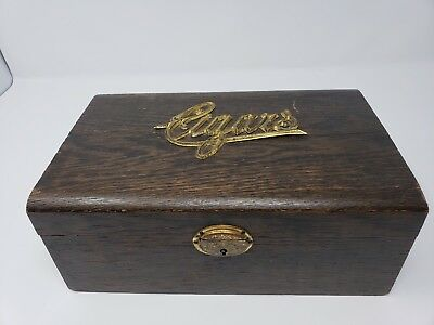 Vintage Cigar Box Holder Humidor Wood Cigars Used Old - Fingerjoint Construction
