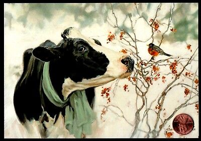 Christmas Cow Bird Branches Snow Scarf Berries - Christmas Greeting Card NEW