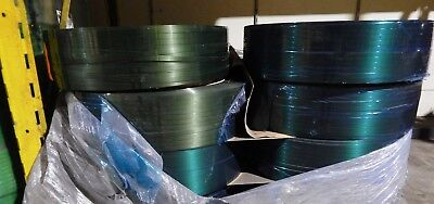 """Green Polyester Smooth Strapping; 1/2"""" x.028x 6500' - 16"""" x 6"""" Core, 820# 1 Coil"""