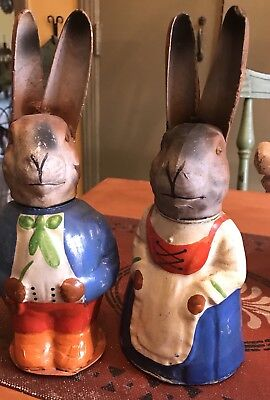 """Antique 10"""" Paper Mache Candy Containers Mr And Mrs Rabbit Not A Reproduction"""