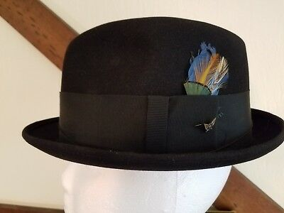 cfe466b233d Vintage 1960 s Men s CHAMP hat Black felt Fedora Size 7   Hat Box  Cumberland MD