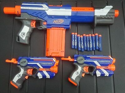 Nerf Bundle Of Alpha Trooper Cs-12 Pump Action Gun With 2 Extra Guns And Ammo