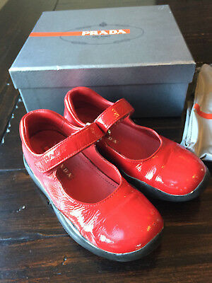 Prada Little Girls' Ruby Red Patent Leather Mary Jane Shoes/Box/Bag Sz 26 (9)